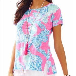 Lilly Pulitzer Mikela Pink Shells Shirt Size XXS
